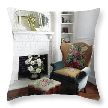 Relaxing By The Fire In The Old Days Throw Pillow