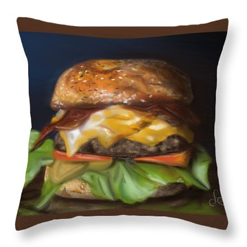 Throw Pillow featuring the pastel Renaissance Burger  by Fe Jones