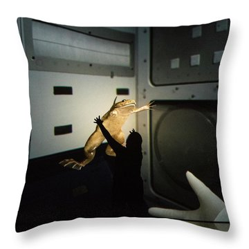 Throw Pillow featuring the photograph Rescue Of The Space Frog by Alex Lapidus