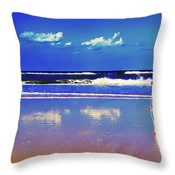 Throw Pillow featuring the photograph Retieiees Lawn Chairs On The Beach Surf  by Tom Jelen