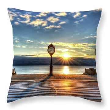 Revere Beach Clock At Sunrise Angled Long Shadow Revere Ma Throw Pillow