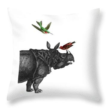Rhinoceros With Birds Art Print Throw Pillow