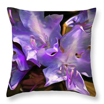 Throw Pillow featuring the mixed media Rhododendron Glory 17 by Lynda Lehmann