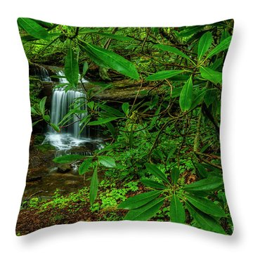 Rhododendron Waterfall Throw Pillow
