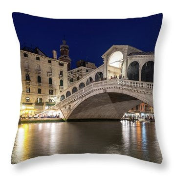 Rialto Bridge Midnight - Venice Italy Night Magic Throw Pillow