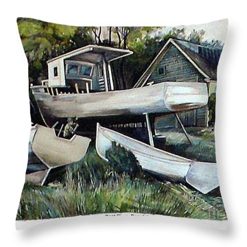 Richardson Boat Shop Throw Pillow