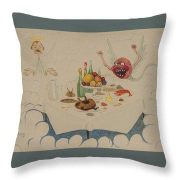 Throw Pillow featuring the drawing Riddar Rudis I Himlen by Ivar Arosenius