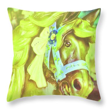 Ride Of Old Green Throw Pillow