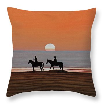 Throw Pillow featuring the painting Riding Sunset Beach by Kenneth M Kirsch