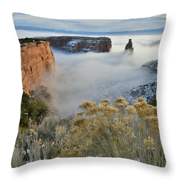 Rim Rock Drive View Of Fogged Independence Canyon Throw Pillow