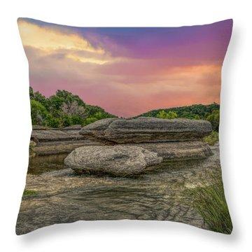 River Erosion At Sunset Throw Pillow