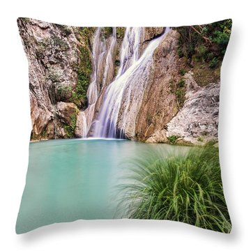 River Neda Waterfalls Throw Pillow