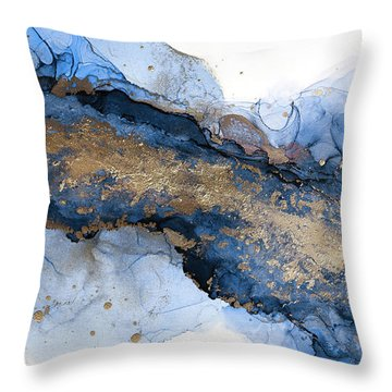 River Of Blue And Gold Abstract Painting Throw Pillow