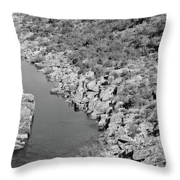 River On The Rocks. Bw Version Throw Pillow