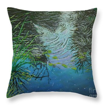 River ...ripples And Reeds Throw Pillow