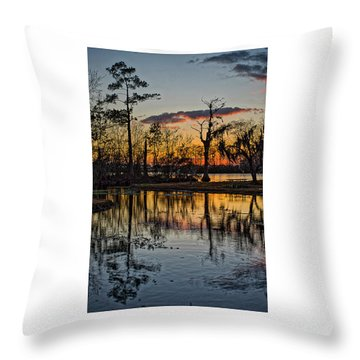 Riverside Sunset Throw Pillow