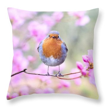 Robin On Pink Flowers Throw Pillow