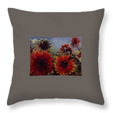 Throw Pillow featuring the painting Robin's Banquet by J Reynolds Dail