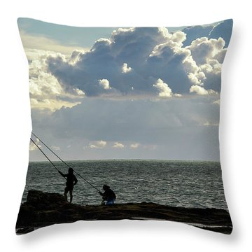 Throw Pillow featuring the photograph Rock Fishing by Pablo Avanzini