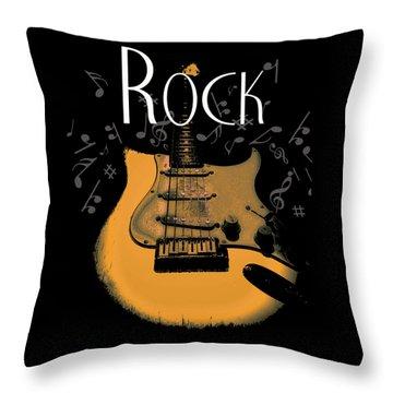 Rock Guitar Music Notes Throw Pillow