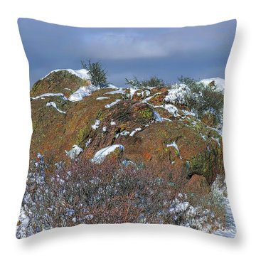 Throw Pillow featuring the photograph Rock Snow Sky by Jon Burch Photography