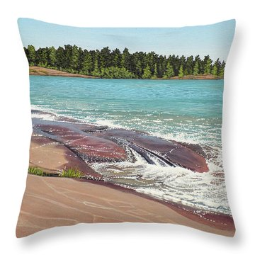 Throw Pillow featuring the painting Rock Washed by Kenneth M Kirsch