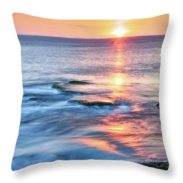 Throw Pillow featuring the photograph Rockport Pastel Sunset Ma. by Michael Hubley