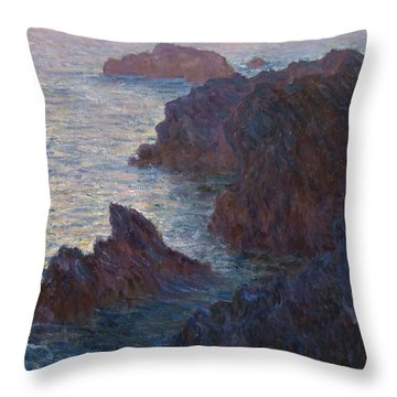 Rocks At Belle-lle, Port-domois, 1886 Throw Pillow