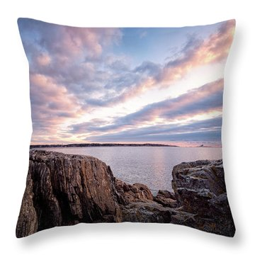 Rocky Coast At Daybreak . Throw Pillow