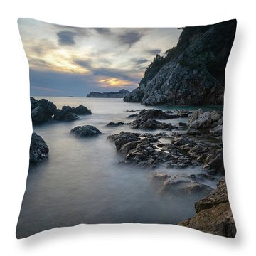 Rocky Coast Near Dubrovnik Throw Pillow