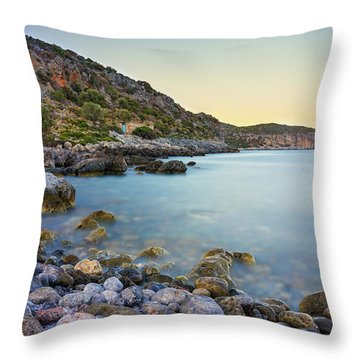 Rocky Coast Near Monemvasia Throw Pillow