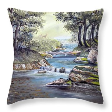 Throw Pillow featuring the painting Rocky Stream by Deleas Kilgore