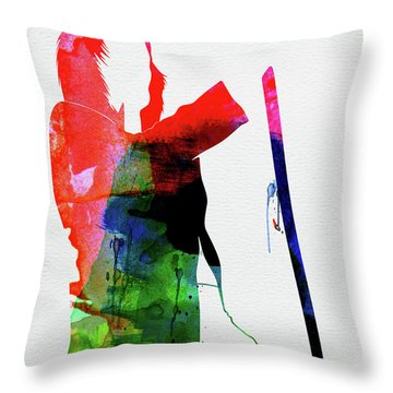 Rod Stewart Watercolor Throw Pillow