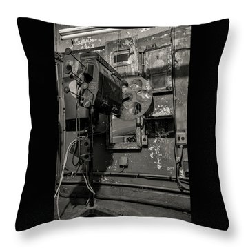 Throw Pillow featuring the photograph Roll The Film - Bw by Kristia Adams
