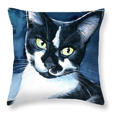 Rollie Tuxedo Cat Painting Throw Pillow
