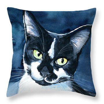 Rollie Tuxedo Cat Painting Throw Pillow