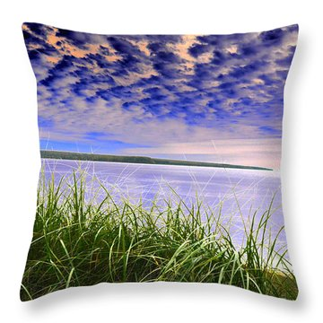 Rolling Blue Sky Over Lake Superior Throw Pillow