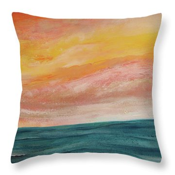 Throw Pillow featuring the painting Rolling Ocean by Valerie Anne Kelly