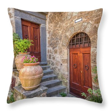 Romantic Courtyard Of Tuscany Throw Pillow
