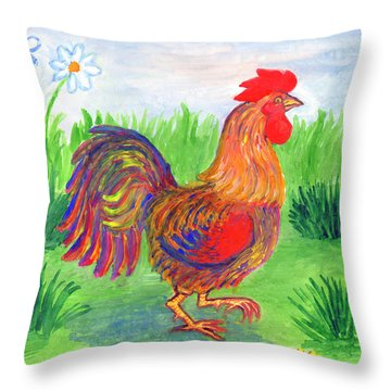 Rooster And Little Chicken Throw Pillow