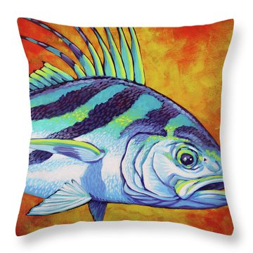 Rooster Fish 2 Throw Pillow