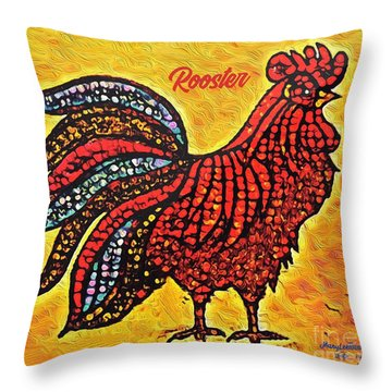 Rooster In The Moring Throw Pillow