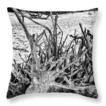 Rooted In Black And White Throw Pillow
