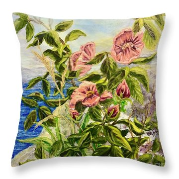 Rosa By The Sea Throw Pillow