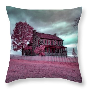 Rose Farm In Infrared Throw Pillow
