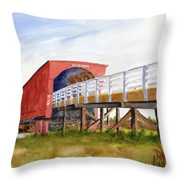 Throw Pillow featuring the painting Roseman Bridge by Rich Stedman