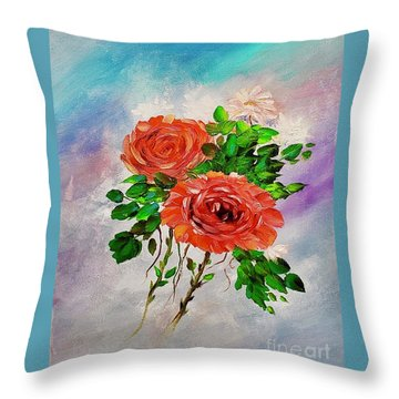 Throw Pillow featuring the painting Roses by Mary Scott