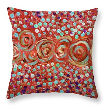 Roses Of Coral And Turquoise Throw Pillow
