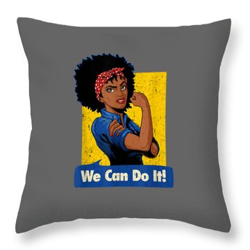 Rosie The Riveter Shirt Black Strong Women We Can Do It Tee Throw Pillow