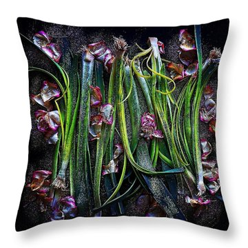 Rosy Leeks Throw Pillow